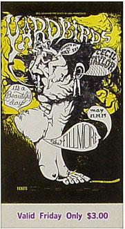 BG # 121 Yardbirds Fillmore Friday ticket BG121