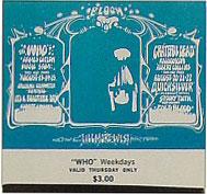 BG # 133 The Who Fillmore Thursday ticket BG133