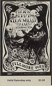 BG # 135 Chuck Berry Fillmore Saturday ticket BG135