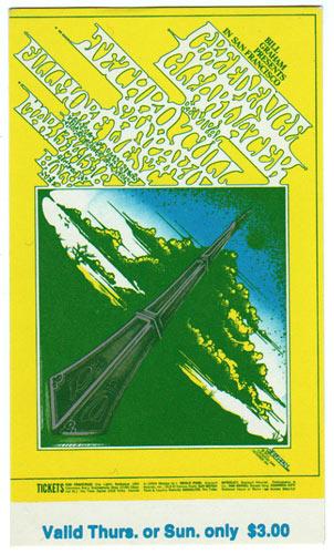 BG # 164 Creedence Clearwater Revival Fillmore Thursday - Sunday ticket BG164