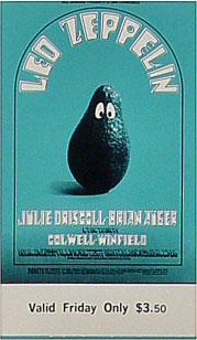 BG # 170 Led Zeppelin Fillmore Friday ticket BG170