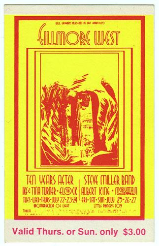 BG # 183 Ten Years After Fillmore Thursday - Sunday ticket BG183