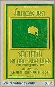 BG # 190 Santana Fillmore Saturday ticket BG190