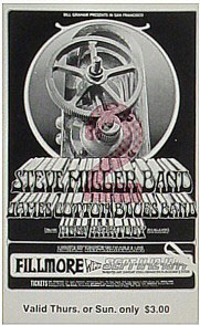 BG # 191 Steve Miller Band Fillmore Thursday - Sunday ticket BG191