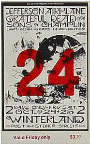 BG # 197 Jefferson Airplane Fillmore Friday ticket BG197