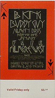 BG # 212 B.B. King Fillmore Friday ticket BG212