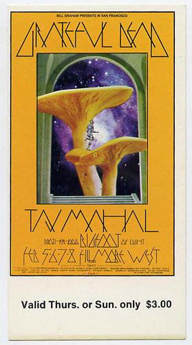 BG # 216 Grateful Dead Fillmore Thursday - Sunday ticket BG216