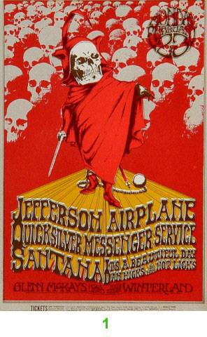 BG # 222A Jefferson Airplane Fillmore Monday ticket BG222A