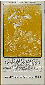 BG # 231 Jethro Tull Fillmore Thursday - Sunday ticket BG231