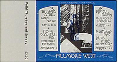 BG # 245 Ten Years After Fillmore Thursday - Sunday ticket BG245