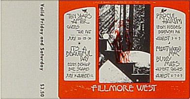BG # 245 Ten Years After Fillmore Friday - Saturday ticket BG245