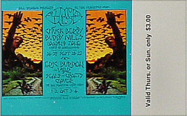 BG # 250 Chuck Berry Fillmore Thursday - Sunday ticket BG250