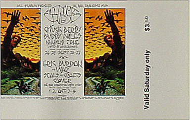 BG # 250 Chuck Berry Fillmore Saturday ticket BG250
