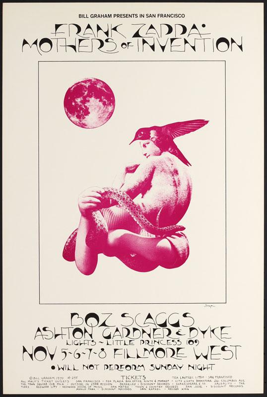 BG # 255-1 Frank Zappa Fillmore Poster BG255