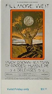 BG # 259 Savoy Brown Fillmore Friday ticket BG259