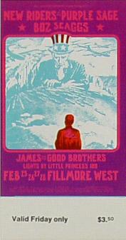 BG # 271 New Riders of the Purple Sage Fillmore Friday ticket BG271