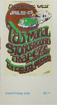 BG # 277 Taj Mahal Fillmore Friday ticket BG277