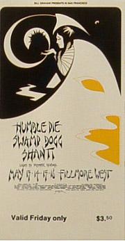 BG # 280 Humble Pie Fillmore Friday ticket BG280
