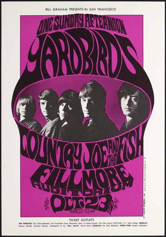 BG # 33-3 Yardbirds Fillmore Poster BG33