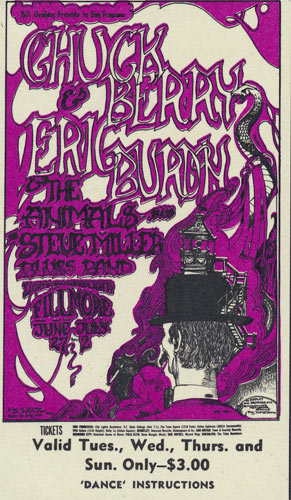 BG # 70 Chuck Berry Fillmore Tuesday - Sunday ticket BG70
