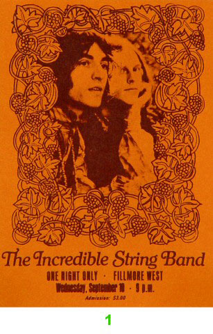 BG #  Incredible String Band Fillmore Wednesday Ticket BG