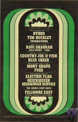 BG # NY680517-1 Byrds Fillmore postcard - stamp back BGNY680517