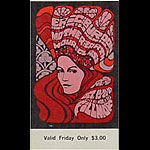 BG # 89 Eric Burdon & the Animals Fillmore Friday ticket BG89