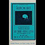 BG # 190 Santana Fillmore Thursday - Sunday ticket BG190