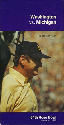 1978 Washington vs Michigan Rose Bowl  Media Guide