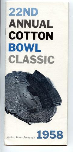 1958 Navy vs Rice Cotton Bowl 22 Football Media Guide