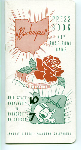 1958 Ohio State vs Oregon Rose Bowl Media Guide