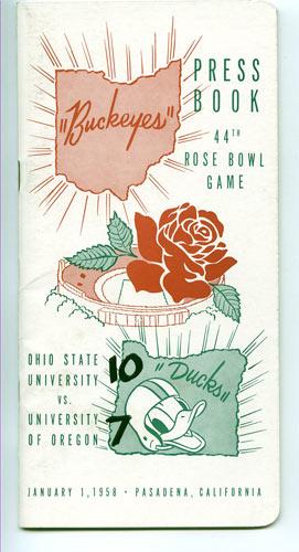 1958 Ohio State vs Oregon Rose Bowl Football Media Guide