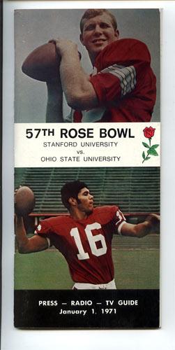 1971 Stanford vs Ohio State Rose Bowl 57 Media Guide
