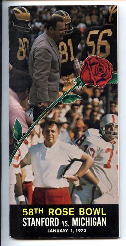 1972 Stanford vs Michigan Rose Bowl 58 Football Media Guide