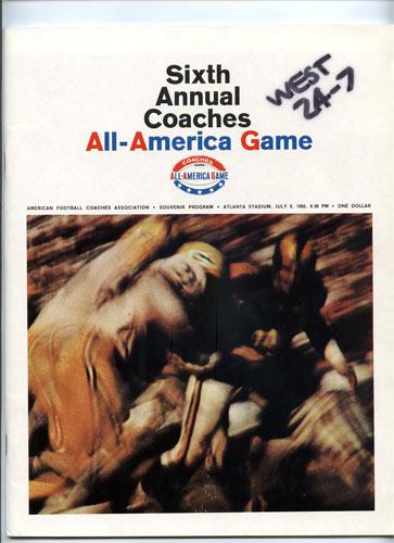 1966 All-America Game Program College Football Program