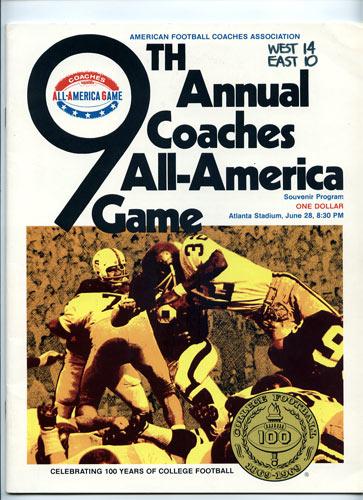 1969 All-America Game Program College Football Program