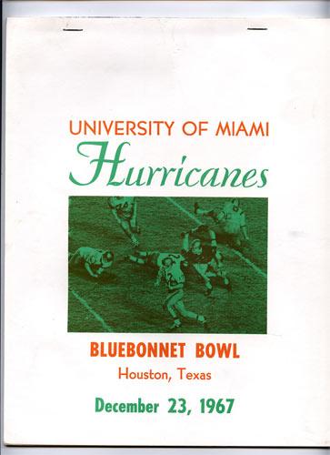 1967 Miami Bluebonnet Bowl College Football Program