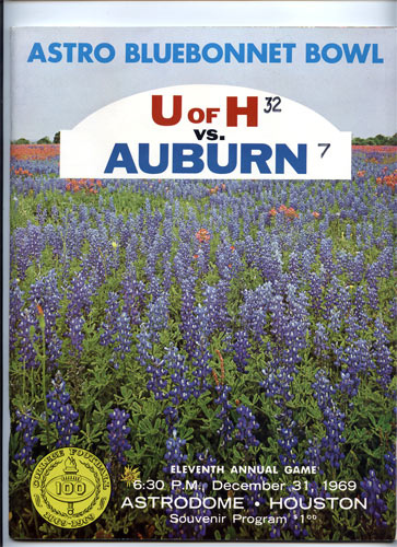 1969 Houston vs Auburn Bluebonnet  Bowl 11 College Football Program