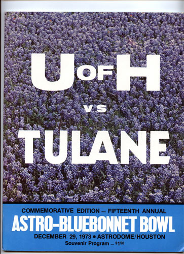 1973 Houston vs Tulane Bluebonnet  Bowl 15 College Football Program