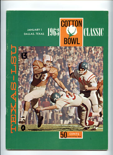 1963 Texas vs LSU Cotton Bowl College Football Program