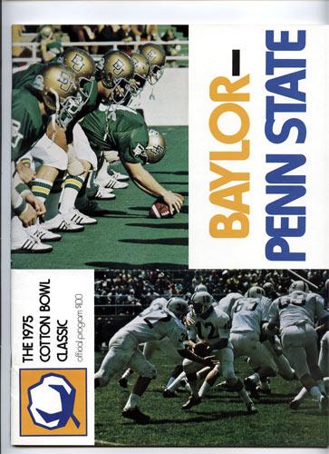 1975 Baylor vs Penn State Cotton Bowl College Football Program