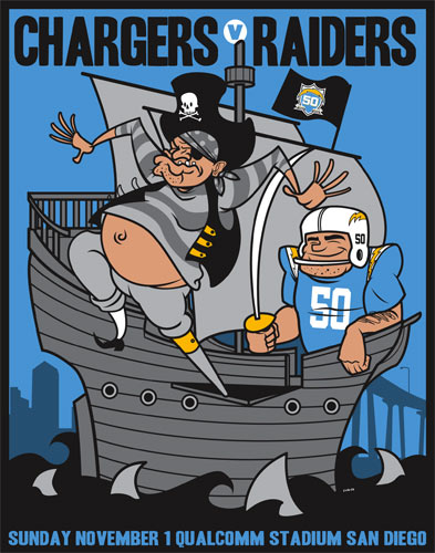 Scrojo Chargers vs Raiders AFL 50th Anniversary Poster