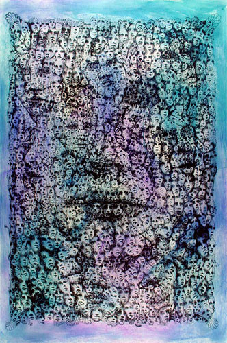 Lee Conklin Faces Monoprint