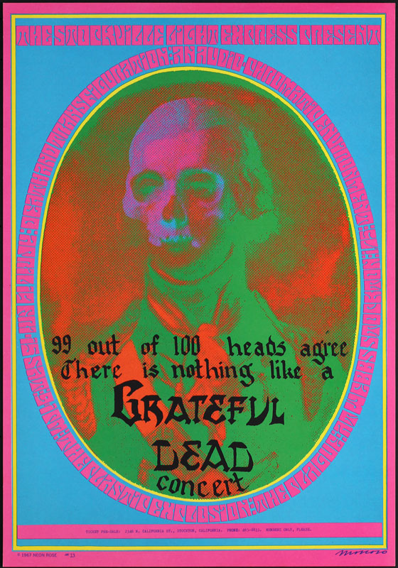 Victor Moscoso NR # 13-1 Grateful Dead 99 Heads Death and Transfiguration Neon Rose NR13 Poster