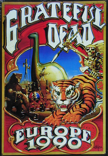 Rick Griffin Grateful Dead Europe 1990 Embossed Metal Sign