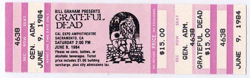 Grateful Dead 1987 Sacramento Ticket