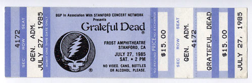 Grateful Dead 1985 Stanford Blue Ticket