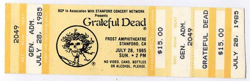 Grateful Dead 1985 Stanford Yellow Ticket