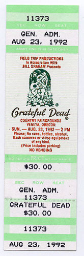 Grateful Dead 1992 Veneta Ticket
