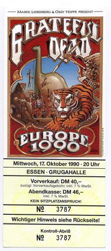 Rick Griffin Grateful Dead Europe 1990 Essen Ticket